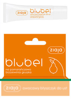 Blubel - owocowy błyszczyk do ust, na pomarańczowo - brzoskwinia - gruszka