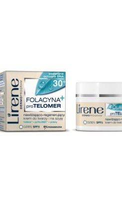 Lirene - Folacyna proTELOMER 30+ - nawilżająco-regenerujący krem do twarzy i na szyję na dzień SPF5