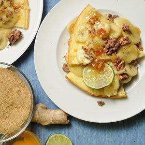 Pieczony omlet imbirowy z polewą bananowo - orzechową