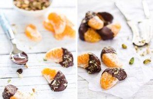 Mandarynki z gorzką czekoladą i pistacjami