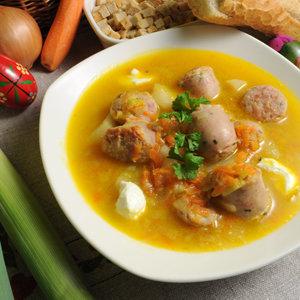 Zupa z porów z białą kiełbasą