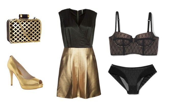 Sukienka Naf Naf, torebka H&M, buty Michaal Kors, bielizna Atlantic