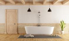 Aranżacja łazienki w stylu rustykalnym jest wyjątkowo klimatyczna.