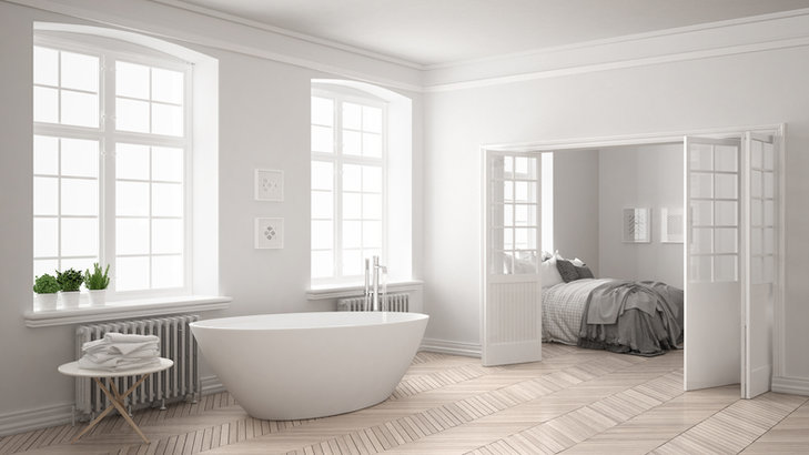 Łazienka w stylu skandynawskim musi być bardzo jasna i minimalistyczna.
