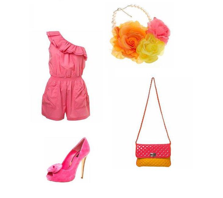 Kombinezon Top Shop (ok. 90 zł) zestaw ze szpilkami (ok. 250 zł) oraz romantycznym naszyjnikiem i torebką